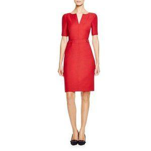 Tory Burch Lydia Wool Red Sheath Dress Buttons 0